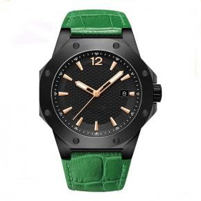 Water resistant genuine leather timepieces stainless steel