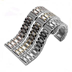 Solid stainless steel watch bracelet with butterfly buckle